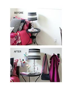 Make your guests feel at home. Command Hooks and caddies are great to organize the space. Check out this project.
