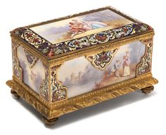A French Renaissance Revival gilt bronze, champlevé and porcelain table box, third quarter 19th century