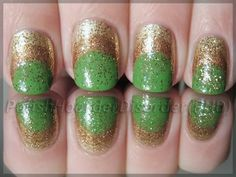 First Color- OPI I Get A Kick Out Of Gold  Second Color- OPI DS Glow  Third Color- OPI Green-wich Village  Glitter- China Glaze's Cleopatra