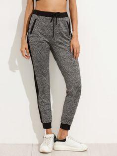 Pantalones cintura elástica con bolsillo - gris-Spanish SheIn(Sheinside)