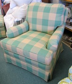 Drexel Heritage Chair and Ottoman in Buffalo Plaid - Totally Refurbished on Etsy, $850.00