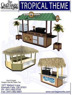 Tropical Kiosk The Carriage Works - Manufacturer and designer of carts and kiosks. In business for over 40 years with our products all over the world. carts, buffets, theme carts, kiosks, RMU, Mall Carts, Outdoor Carts, Retail Carts, Ice Cream Cart, Espresso Cart, Coffee Cart, Hot Dog Carts, Cell Phone Kiosks, Nail Kiosk, Food Bar, School Carts, Bar Carts, Pretzel Carts, Donut Carts, in lines, display carts , kiosks, school food carts, coffee kiosks, popcorn wagons