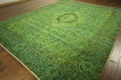 One of a Kind 10x12 Lime Green Overdyed Tabriz Hand Knotted Wool Area Rug H7369