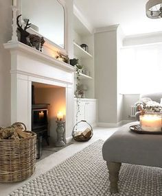 New living room ideas with fireplace grey rugs Ideas New Living Room, Home And Living, Living Room Rugs, Log Burner Living Room, Cosy Living Room Warm, Living Room With Stove, Cottage Living Room Decor, Living Room With Carpet, Living Room Neutral