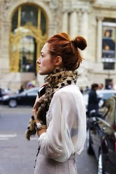 scarf, sheer blouse, top knot