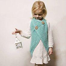 Detské oblečenie - vestička tyrkys - 6160684_