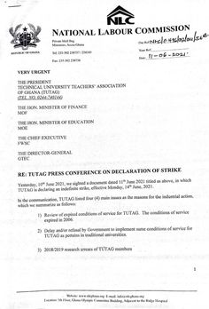 The National Labour Commission has advised the Technical University Teachers' Association of Ghana (TUTAG) to suspend their strike slated for Monday, June 14. In a press release signed by the Executive Secretary, the Commission invited the leadership of TUTAG to appear before the commission to discuss their grievances. The NLC... The post National Labour Commission advises TUTAG to refrain from intended industrial action appeared first on Clickongh. Technical University, Press Release, Secretary, Ghana, Leadership, June, Industrial, Action, Entertainment