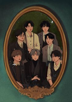 My family portrait everyone there except me cause im in the heart XD LOLOLOLO Foto Bts, Bts Photo, Bts Chibi, Bts Art, Bts Group Photos, Bts Aesthetic Pictures, Album Bts, Fanarts Anime, Bts Drawings