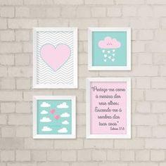 Dê mais vida ao quarto do seu filhote com o nosso kit de quadros decorativos. São 4 quadros decorativos. São 2 quadros com 33,5 x 24 cm e 2 quadros com 23,5 x 23,5 cm. Todos possuem frente de vidro. Gravuras impressas com qualidade fotográfica.
