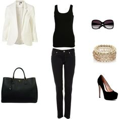 This is basically my favorite outfit combination.  Blazer Tank Pants Bag If you have one dark and one light blazer, they can be worn constantly, and the make some out of sweatshirt material. You can wear a casual or lacey tank. Any style jeans or dress pants.
