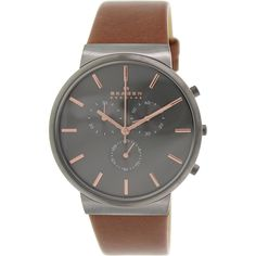 Look handsome with this men's casual chrongraphwatch. Designed with a suave brown strap and grey dial for a unique style. The timepiece is crafed from stainless steel to bring this look together. All