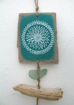 Painted Driftwood Mandala, Shell And Sea Glass Mini Mobile, Driftwood Shell…