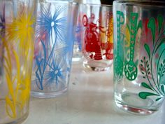 Swanky Swigs juice glasses,SHABBY CHIC, 1930s Juice Glasses, glass, retro, antique, glassware, dishes, juice glasses,. $26.00, via Etsy.