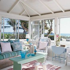 Shabby Chic Coastal rooms in soothing pastel shades.