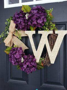 Monogram Wreath Hydrangea Wreath Front Door by SimplySundayShop