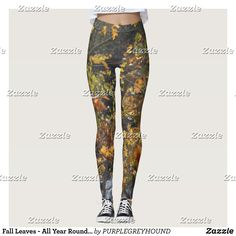 Fall Leaves - All Year Round Leggings : Beautiful #Yoga Pants - #Exercise Leggings and #Running Tights - Health and Training Inspiration - Clothing for #Fitspiration and #Fitspo - Strong Female and Female Empowerment Apparel - #Fitness and Gym Inspo - #Motivational Colorful Workout Clothes by Talented Graphic Designers