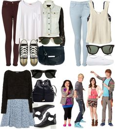 wow i feel like such a gimp for making these sets request something cool, guys visiting ross on austin and ally by alyucma featuring a white long sleeve shirt  Madam Rage blue floral dress, $34 / Tala white tank top / Organic by John Patrick white long sleeve shirt / Topshop jumpers sweater / River Island cropped biker jacket, $31 / Topshop blue skinny jeans / Topshop  jeans / HM lingerie bra, $13 / Vans lace up sneaker, $115 / Converse laced up shoes, $70 / Zara black bucket bag / Mango b…