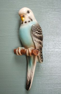 1950's wall hanging budgie. A kitchen cutie!  I had a pet parakeet this color back in the 60s. Chubby Checkers. Sang and danced to the radio. Gramma loved him.