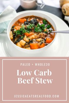 This Paleo, Whole30 stew is deeply satisfying, with a slightly more blood sugar friendly carb and sugar content than normal beef stew. It is hearty and warm, cozy and comforting - perfect for a winter meal! The lack of flours for thickening, sugars for sweetening and stock cubes for flavouring means that this soup is a perfect Paleo or Whole30, gluten-free, dairy-free complaint option. #paleorecipes #whole30recipes #paleo #whole30 #glutenfree #dairyfree #stew