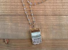 Druzy and Labradorite Necklace by ElidaCreations on Etsy