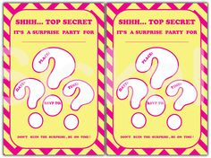 SURPRISE Party INVITATIONS Printable | Yellow & Pink Party Decorations | Instant Download | Siskale (0.94 USD) by Siskale