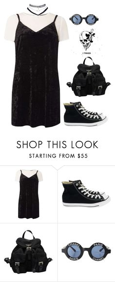 """Untitled #180"" by blvckcreature ❤ liked on Polyvore featuring Dorothy Perkins, Converse, Prada, Chanel and Wet Seal"