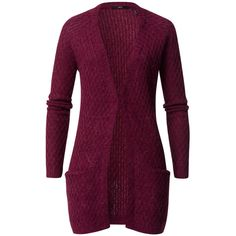 Cardigan mit Waben-Strickmuster ($85) ❤ liked on Polyvore featuring tops, cardigans, purple cardigan, long cardigan, purple top and long purple cardigan