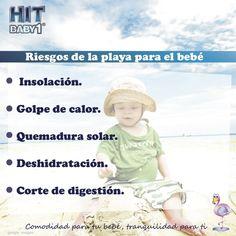 ¡Riesgos de llevar a los bebés a la playa sin el cuidado y protección necesaria!   Insolación Golpe de calor Quemadura solar #riesgos #playas #bebés #niños #niñas