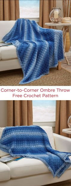 Corner-to-Corner Ombre Throw Free Crochet Pattern in Red Heart Yarns -- This throw is the perfect combination of continued... a classic pattern and a modern colorway! Super Saver Ombre works up in beautiful shades, so you get a high-class look with minimal effort!