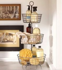 Repurpose a kitchen veggie rack for use in the bathroom to help organize toiletries