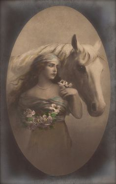 Romantic Dreamy Glamour Fantasy Long Hair Nymph Beauty with Horse Surreal Elegance Fairy Tale Original Rare 1910s German Postcard Used 1921