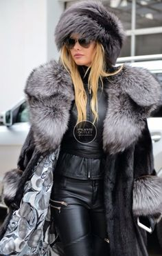SAGA MINK TRENCH FUR COAT SILVER FOX BELT CLASS OF SABLE CHINCHILLA JACKET BLACK