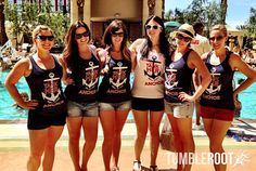 "Adorable nautical themed bachelorette party shirts! ""help us tank her before she drops anchor"" bachelorette party tank tops, cute bachelorette party, vegas bachelorette, anchor, sailor theme"