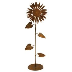 Patina Products - S664 Small Sun Flower Garden Sculpture, Solid Steel, Natural Patina Finish