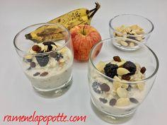 Bircher mûres, banane, pomme et ses fruits secs