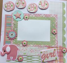 """Two pre-made 12""""x12"""" scrapbook pages for your baby girl's 3 month pictures by Carolsues on Etsy"""
