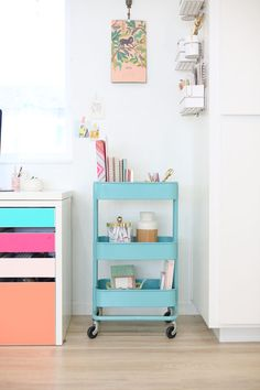 The Ikea Raskog cart is so versatile and cute. Use it as a bar cart, bookshelf, or office storage! See ideas for how to use yours! Storage Bin Shelves, Wooden Storage Bins, Soft Toy Storage, Ikea Toy Storage, Storage Bench Seating, Small Space Storage, Office Storage, Shelving, Ikea Raskog Cart