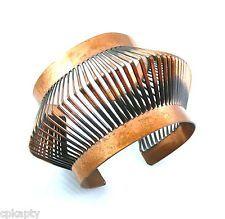 HUGE Vintage 1930s REBAJES Hand Made Geometric Modernist Copper Cuff BRACELET