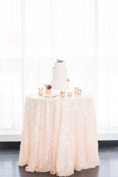 Sweetheart table   Peach Sequin Tablecloth | Modern Chic Wedding Inspiration | Blush Sequin table Linen