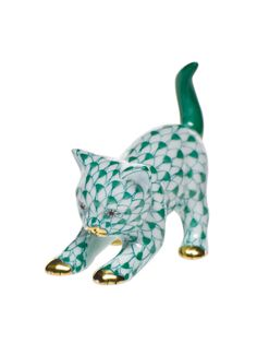 """Herend Hand Painted Porcelain Figurine """"Stretching Kitty"""" Green Fishnet Gold Accents."""