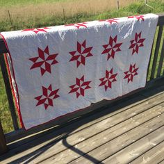 A personal favorite from my Etsy shop https://www.etsy.com/ca/listing/245295936/quilt-hand-stitched-red-and-white-star