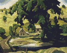 Farmhouse Landscape Cross Stitch Pattern / Chart, Group of Seven, Haliburton, Franklin Carmichael, Instant Digital Download  (AP441) Cross Stitch Designs, Cross Stitch Patterns, Franklin Carmichael, Group Of Seven, Farmhouse Landscaping, Colorful Trees, Commercial Art, Canadian Artists, Digital Pattern