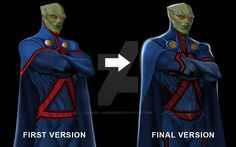 My first and final versions of Martian Manhunter. Made in Photoshop Martian Manhunter Martian Manhunter, Aquaman Dc Comics, Marvel Comics, Dc World, Dc Rebirth, Super Hero Outfits, Pokemon Cosplay, Deathstroke, Comic Games