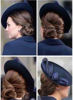 Catherine, Duchess of Cambridge with a beautiful side chignon. Duchess Kate, Duchess Of Cambridge, Side Chignon, Vintage Updo, Loose Updo, Estilo Real, Elegant Updo, Kate Middleton Style, Estilo Fashion