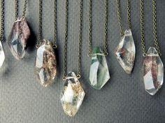 Garden Quartz Necklace Healing Crystal Pendant by Chrysalism