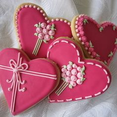 Sweet n Pretty Heart Cookies trimmed with Flowers