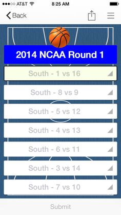 Example NCAA Basketball Tourney Bracket form on inBound app.