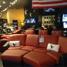 HAVE YOU SEEN OUR THEATER SEATING WITH THE HOUSTON TEXANS LOGO ON IT?! Watch football in style this season with these pieces from United Leather. #man_cave | Houston TX | Gallery Furniture |