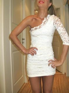 Chic Cocktail Dresses Special Tight Lace White Cocktail Dress One Sleeves Mini Sexy Club Night Dresses Vestido Social Curto Short Party Gowns Ladies Dresses From Adminonline, $70.15| Dhgate.Com
