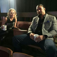 Renee Young and Roman Reigns.